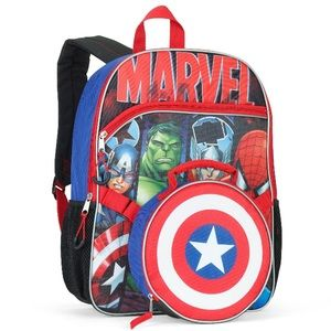 "Marvel Universe Backpack 16"" Detachable Lunch Bag"